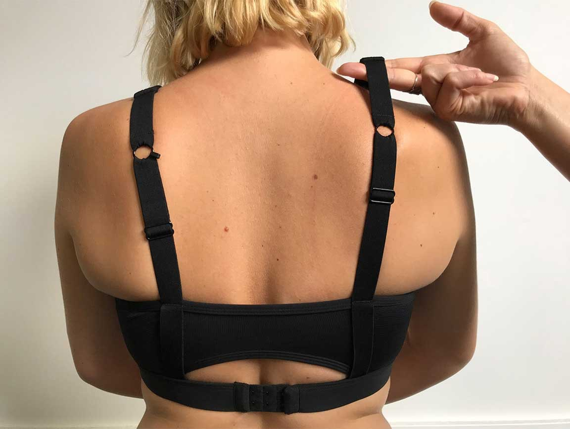 765d22d0bef All breast tissue should sit inside the sports bra and the top of the  sports bra should lightly rest on your skin. If you bulge or spill out  or  the sports ...