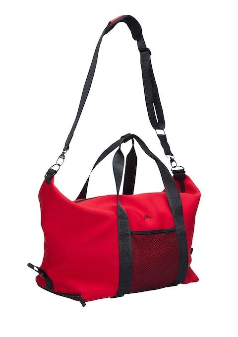 Red Logo Strap Duffle Bag