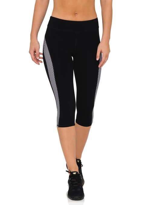 Black Btl 3/4 Stripe Panel Tight