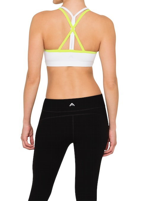 White/lime C Mighty-ms Strappy Back Sports Bra