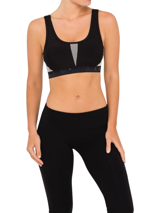 Black And White Wn Ms Mesh Panel Sports Bra