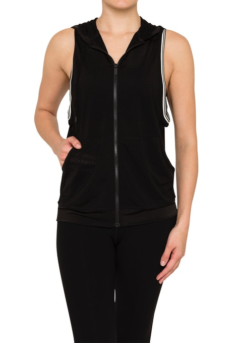 Black Graphite Mesh Sleeveless Jacket