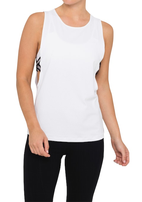 White Btl Elastic Side Active Muscle Tank