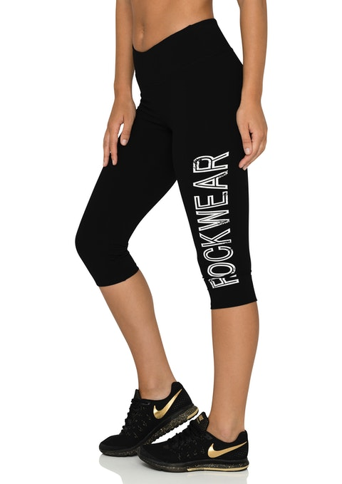 Black 3/4 Distressed Logo Tight