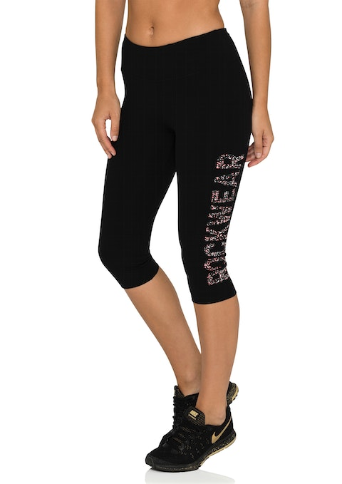 Black 3/4 Speckle Logo Tight