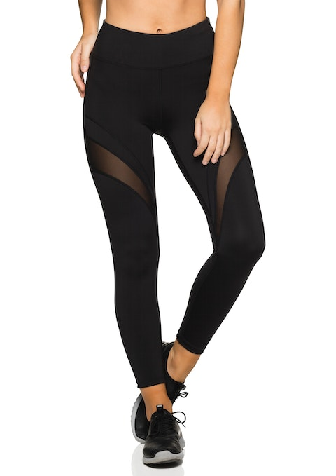 Black Anklegrazer Mesh Panel Tight