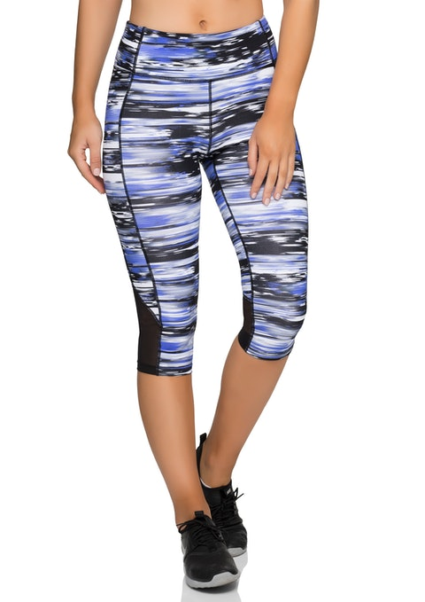 Night Runner Blue 3/4 Printed Mesh Hem Tight
