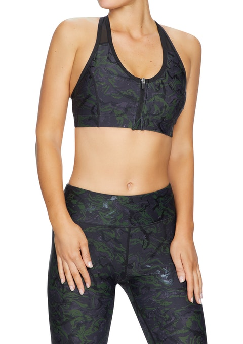 Echo Cool Urban Medium Impact Zip Front Sports Bra