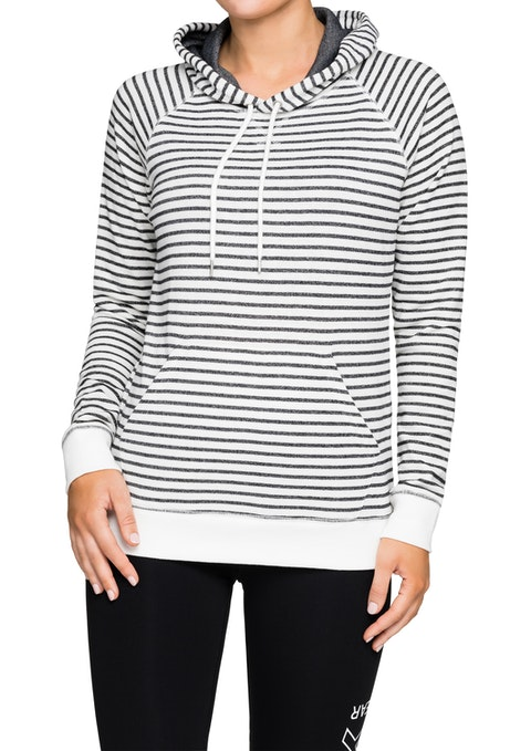 Grey And White Striped Kangaroo Pocket Hoodie