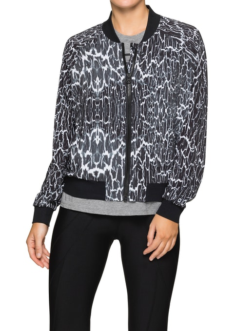 Metallic Luxe Ml Printed Bomber Jacket