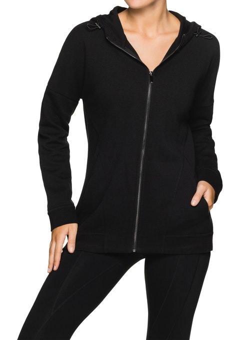 Black Ml Toggle Hooded Zip Front Jacket