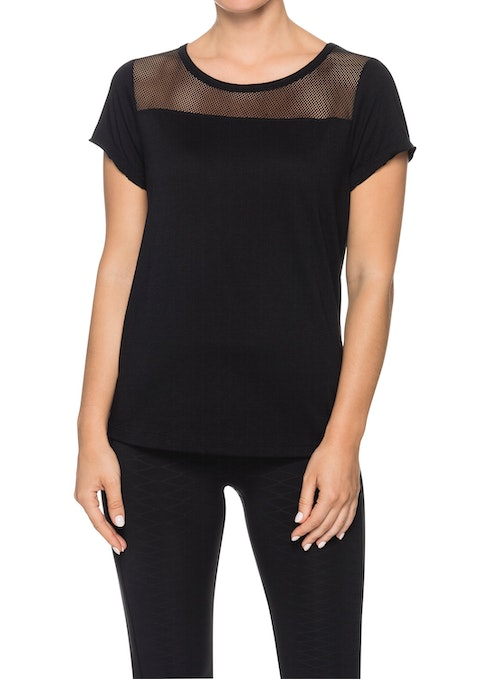 Black Gm Mesh Panel T-shirt