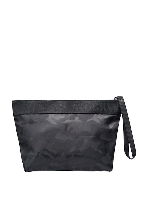 Black Jacquard Print Cosmetic Bag