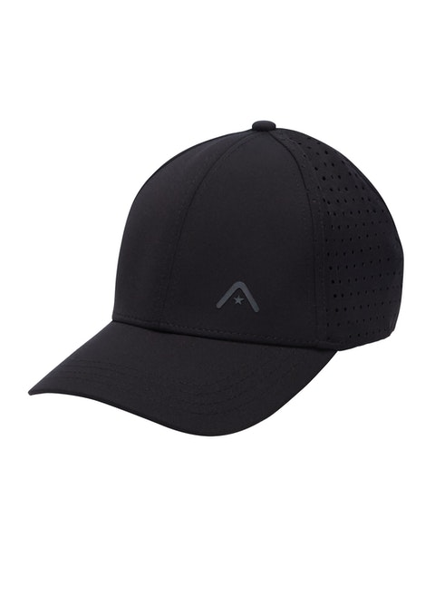 Black 6 Panel Perforated Cap