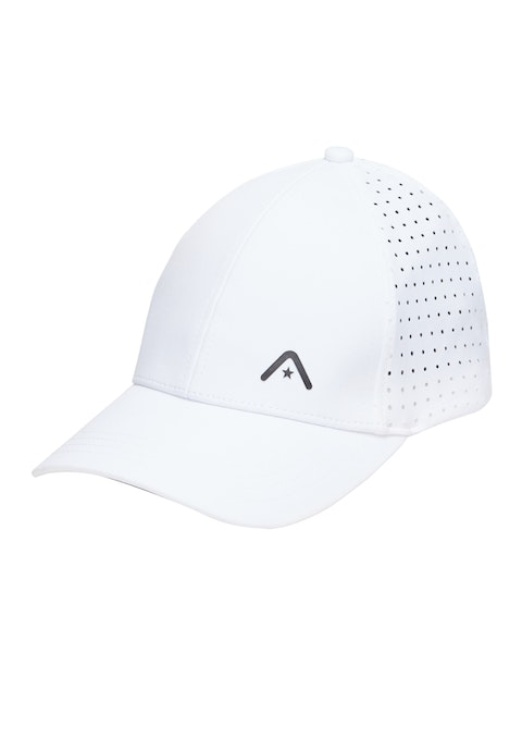 White 6 Panel Perforated Cap