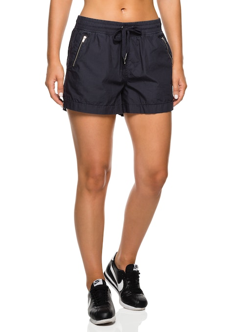 Grey Cotton Poplin Zip Casual Short