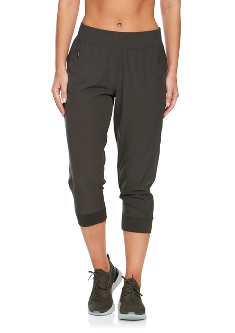 Khaki 3/4 Perforated Panel Casual Pant
