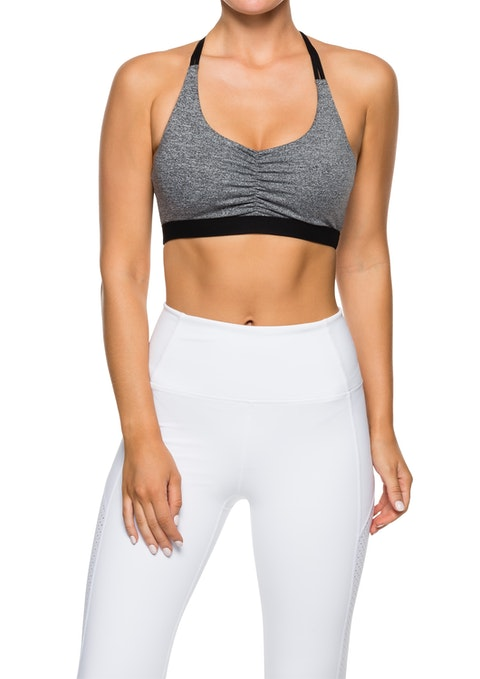 Mid Grey Marle Exhale Ls Rouched Front Bra