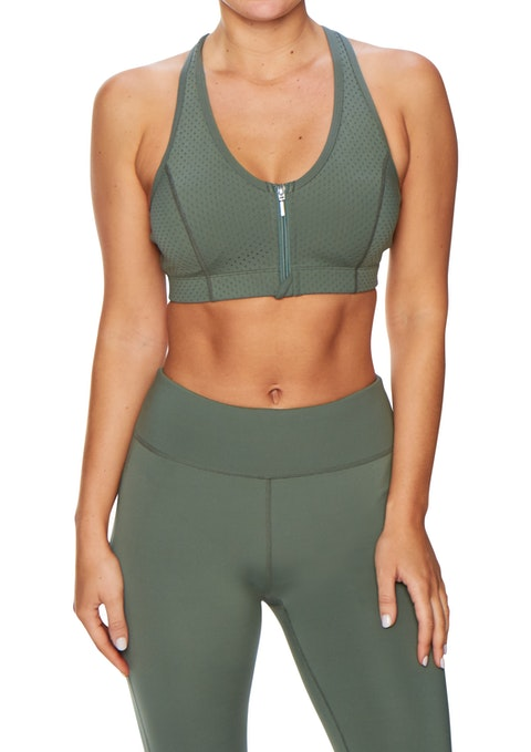 Olive Wn Ms Perforated Zip Bra