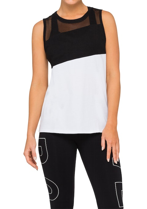 Black And White Mondrian Col Block Tank