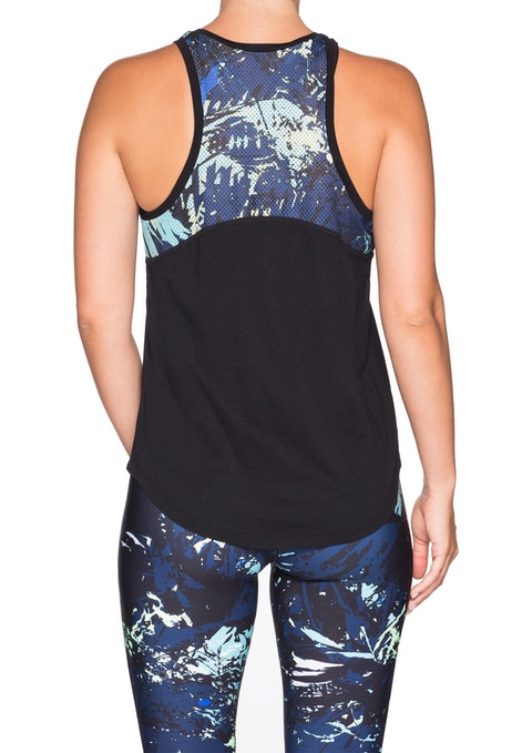 Black Miami Vice Print Panel Tank