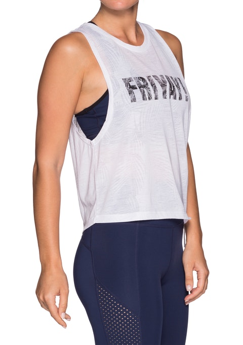 White Action Tie Side Tank