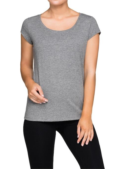 Mid Grey Marle Cosmic Scoop Neck Slub T-shirt