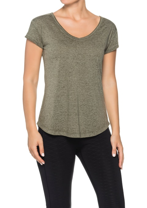 Khaki Astro V Neck Super Soft T-shirt
