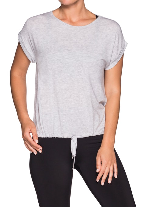 Grey Miami Vice Drawcord Hem Tshirt