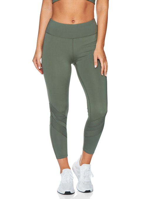 Olive Sm Ankle Grazer Perforated Tight