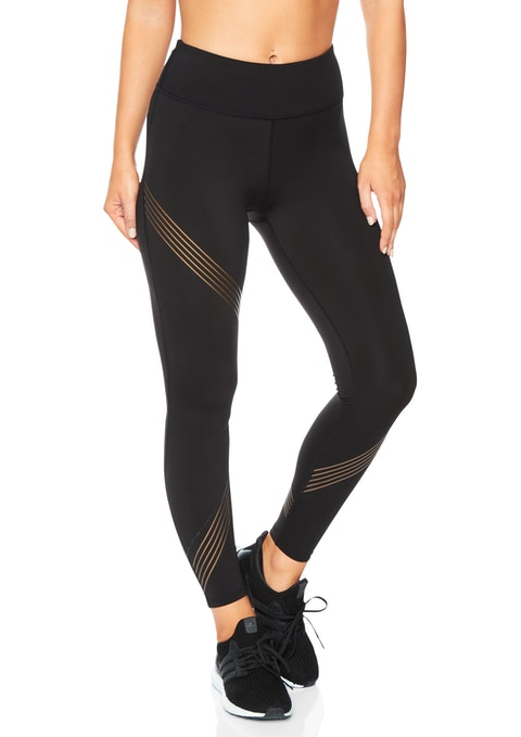 Black Upscale Fl Assymetric Stripe Tight
