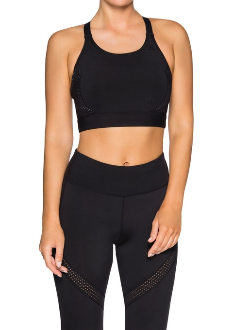 Black Nb High Support Perforated Splice Bra