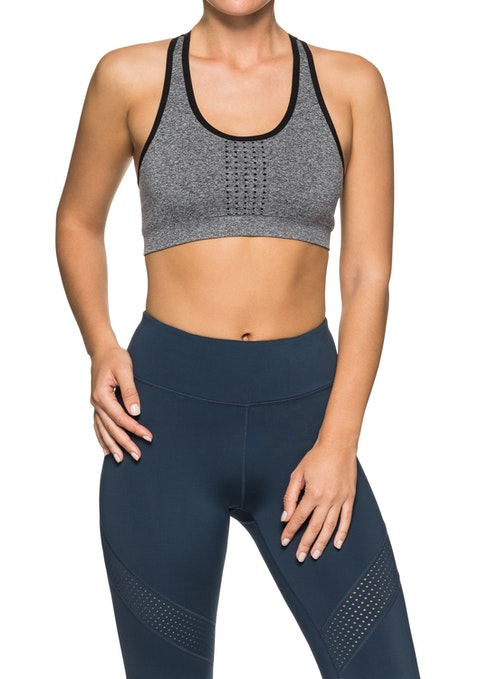 Mid Grey Marle Seamless Low Impact Racer Back Sports Bra