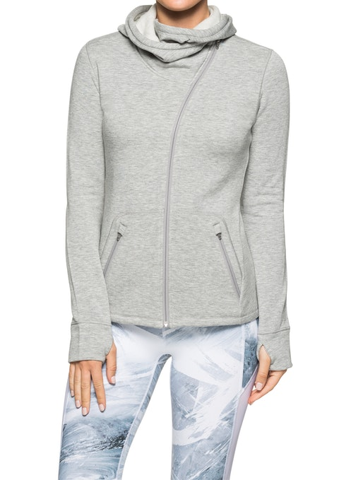 Mid Grey Marle Asymmetric Zip Casual Jacket