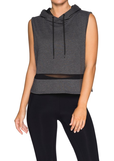 Charcoal Marle Mesh Panel Cropped Slvless Hoodie