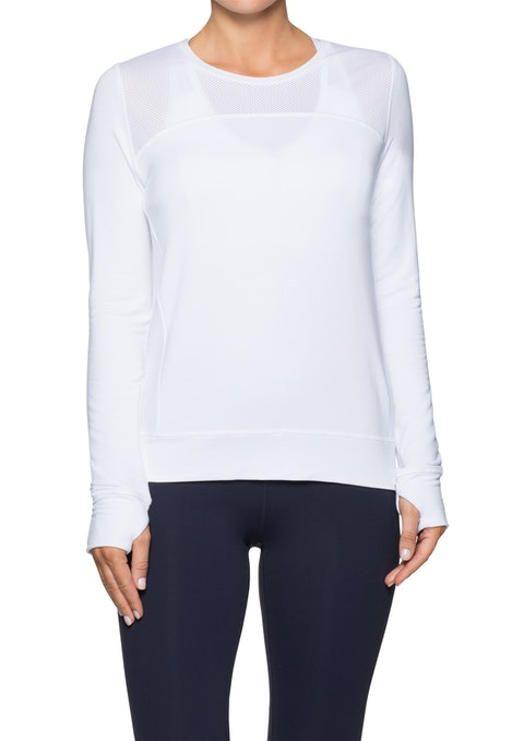 White Mesh Panel Keyhole Back Sweat