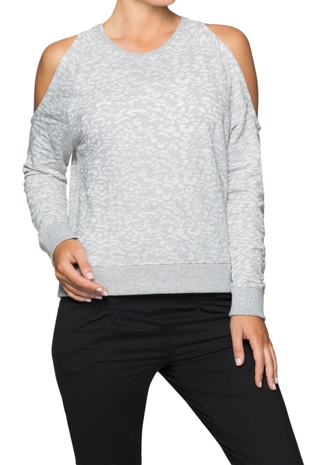 Mid Grey Marle Nb Cold Shoulder Burnout Sweat