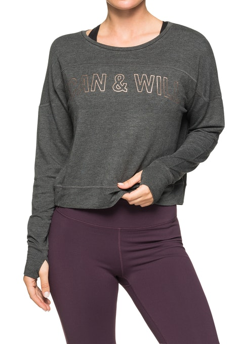 Charcoal Marle Or Front Print Semi Cropped Sweat