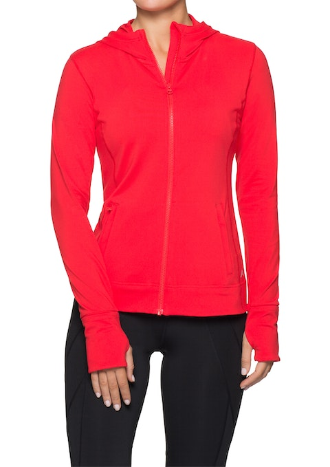 Red Hooded Supplex Jacket