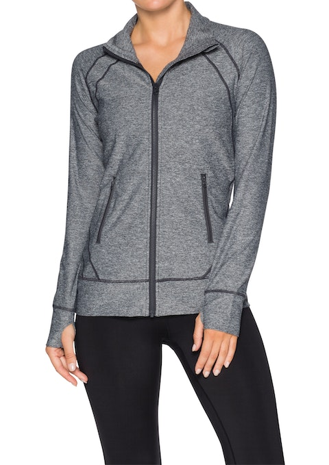 Mid Grey Marle Rouched High Neck Jacket