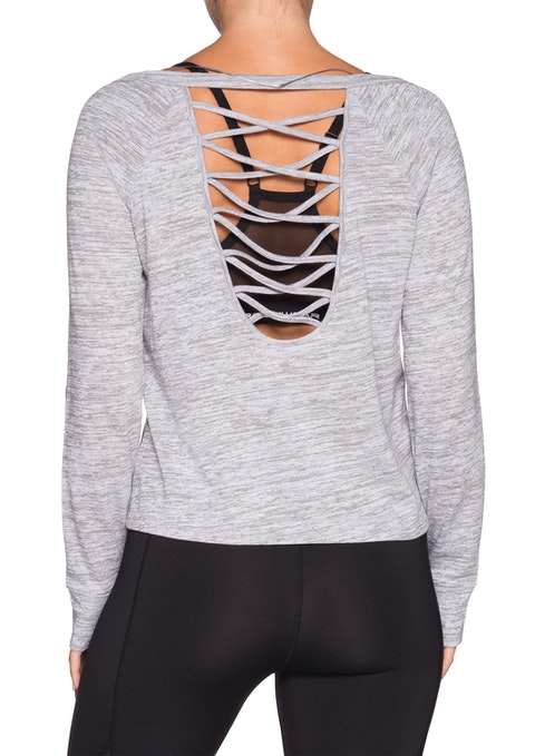 Mid Grey Marle Strappy Back L/s Top