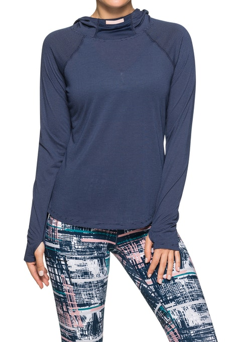 Navy And White Hooded Ls Stripe Top
