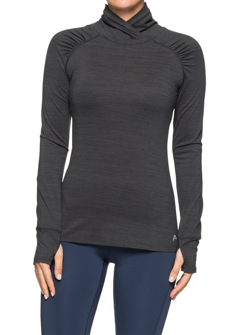 Charcoal Marle Ruched Raglan Running Top