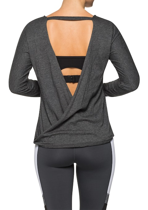 Charcoal Marle Wrap Back Ls Top