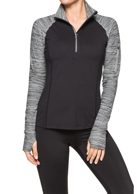 Black Zip Front Funnel Running Top