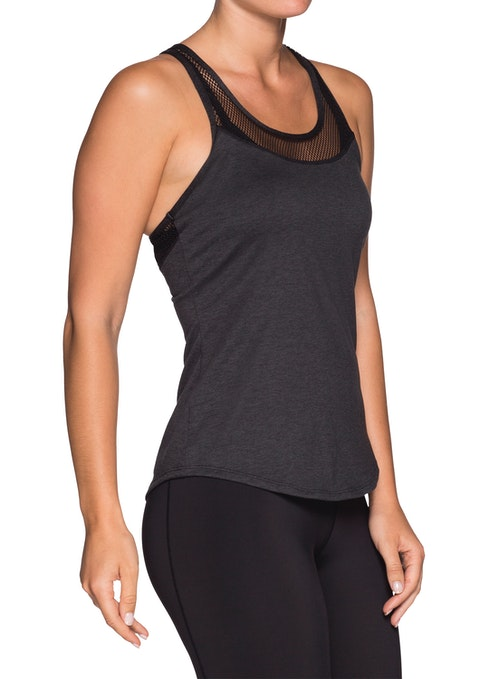 Charcoal Marle Elevate Mesh Yoke Marle Fitted Singlet