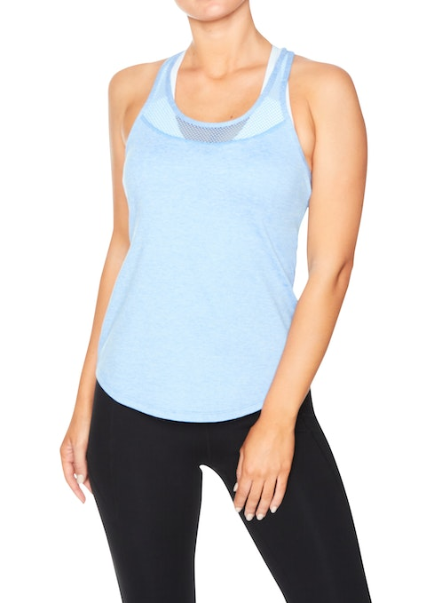 Powder Blue Elevate Mesh Yoke Marle Fitted Singlet