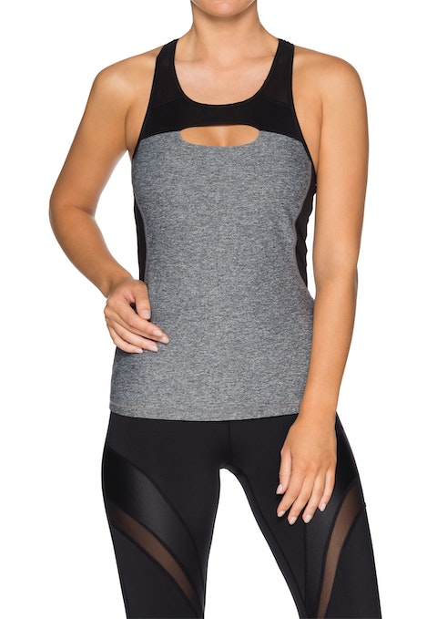 Mid Grey Marle Nb Cut Out Front Support Singlet