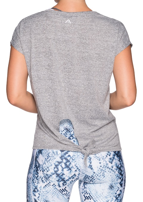 Light Grey Marle Tie Back Drop Shoulder Tee