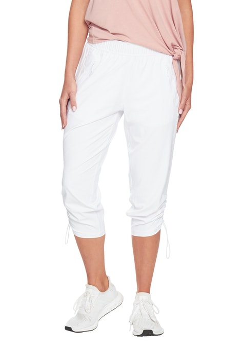 White 3/4 Dryfit Rouched Pant